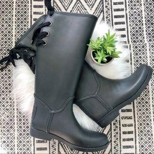 Coach Tristee Black Lace Up Equestrian Rain Boots